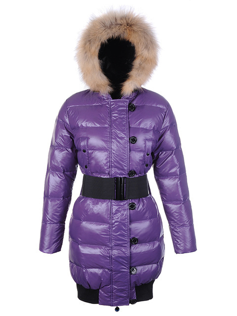 Cheap Moncler Coats For Women With Fur Collar And Waistband Purple MC1269 Sale