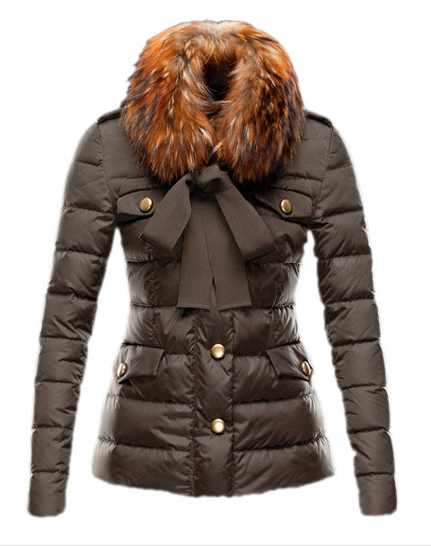 Cheap Moncler Coats For Women With Fur Collar Brown MC1350 Sale