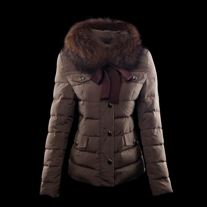 Cheap Moncler Coats For Women With Fur Collar Claret MC1352 Sale