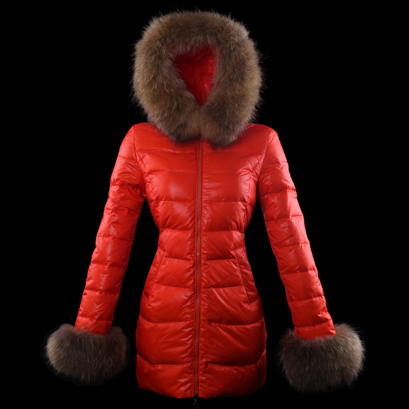 Cheap Moncler Down Coats For Women Red MC1362 Sale