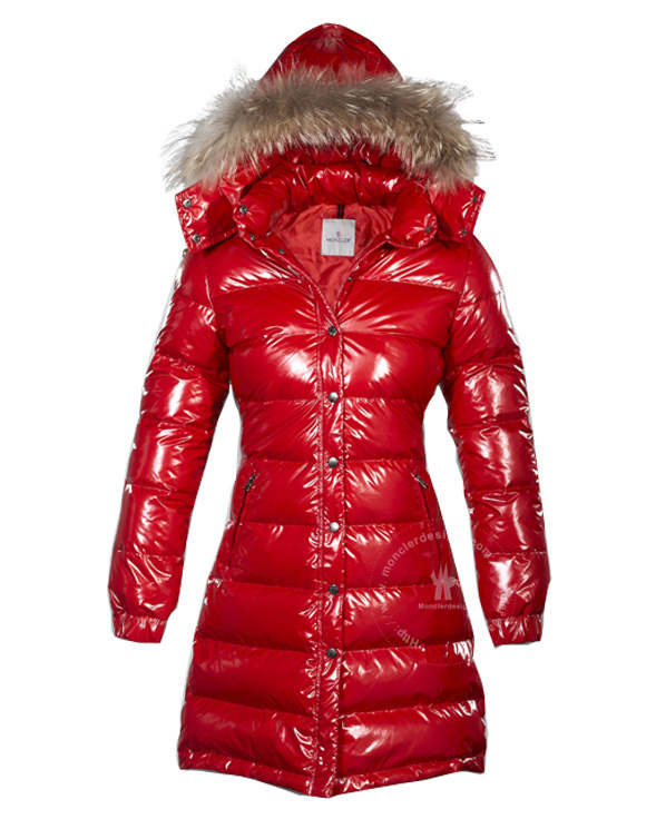 Cheap Moncler Down Coats For Women Red With Fur Cap MC1286 Sale