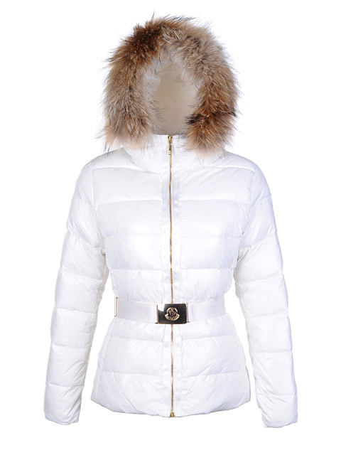 Cheap Moncler Down Coats For Women White With Fur Cap And Waistband MC1253 Sale