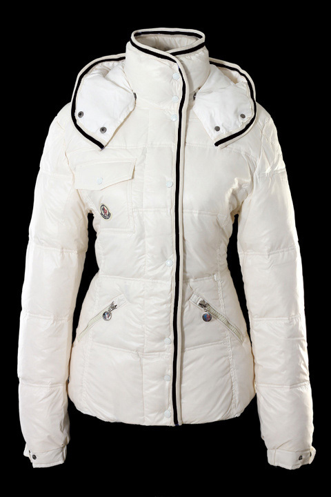 Cheap Moncler Down Coats For Women White With High Collar MC1239 Sale