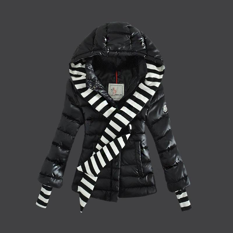 Cheap Moncler Down Coats Women Black With Stripes Decorates MC1518 Sale