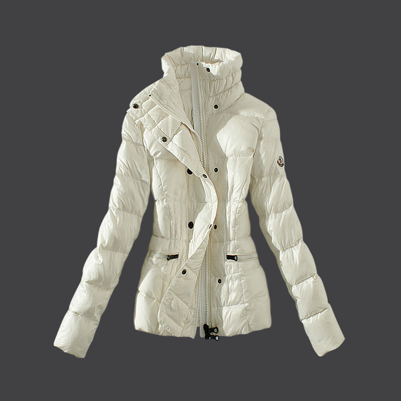 Cheap Moncler Down Coats Women Double-Breasted Ivory MC1520 Sale