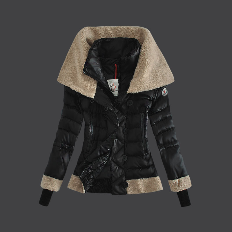 Cheap Moncler Down Coats Women Fur Collar Black MC1496 Sale