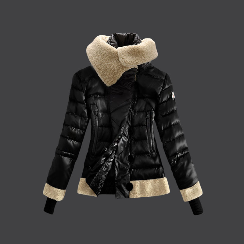 Cheap Moncler Down Coats Women Fur Collar Black MC1498 Sale