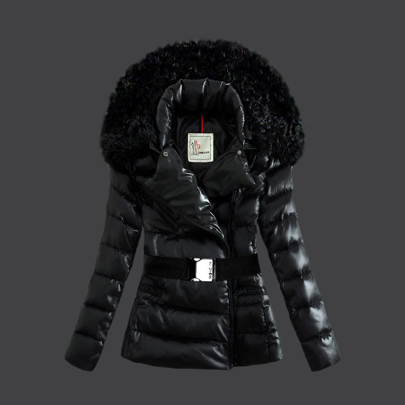 Cheap Moncler Down Coats Women Fur Collar Black MC1573 Sale