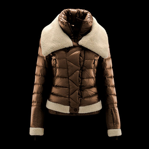 Cheap Moncler Down Coats Women Fur Collar Copper Yellow MC1497 Sale