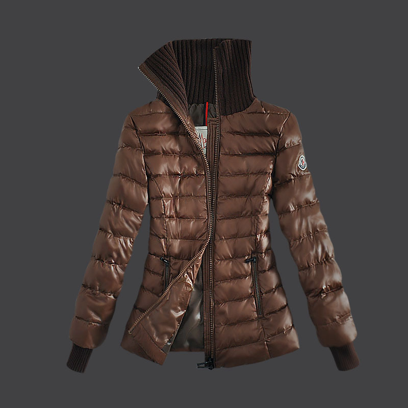 Cheap Moncler Down Coats Women Fur Collar Copper Yellow MC1530 Sale