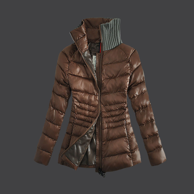 Cheap Moncler Down Coats Women Fur Collar Dark Brown MC1502 Sale