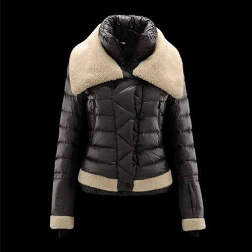 Cheap Moncler Down Coats Women Fur Collar Dark Grey MC1495 Sale