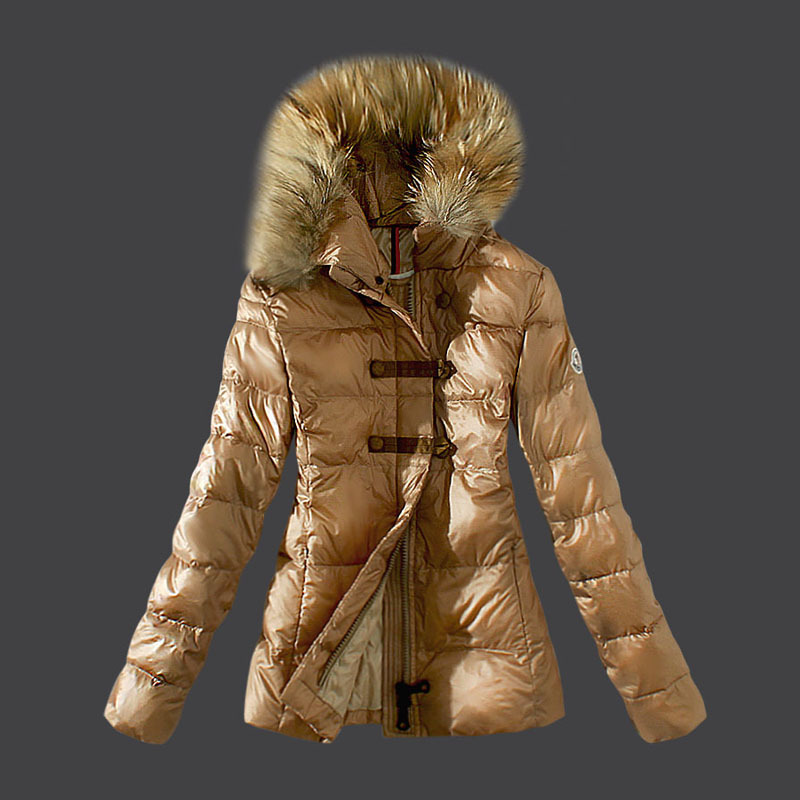 Cheap Moncler Down Coats Women Fur Collar Khaki MC1562 Sale