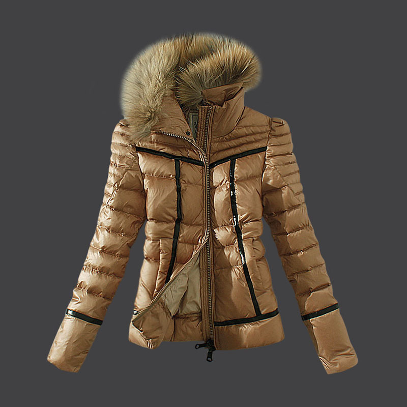 Cheap Moncler Down Coats Women Fur Collar Khaki MC1567 Sale