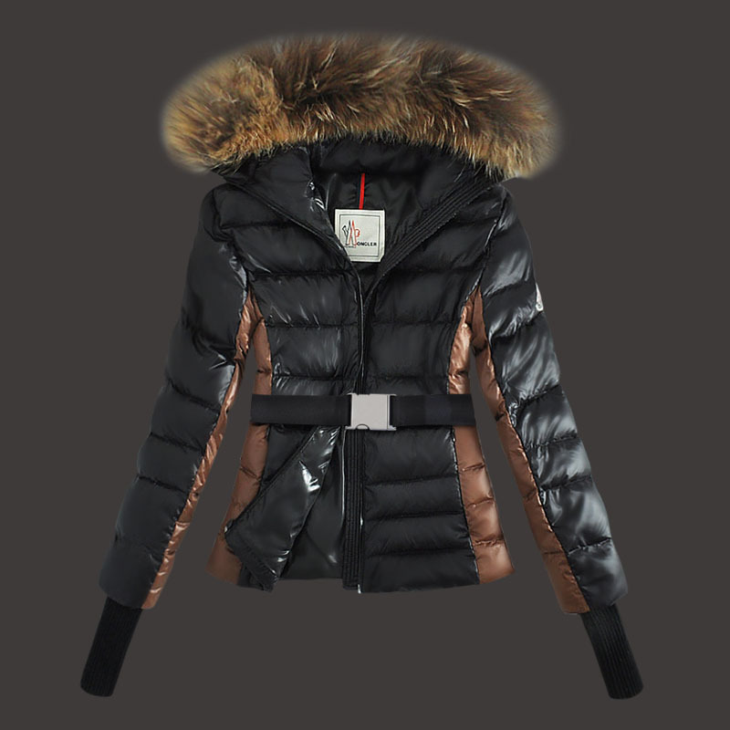 Cheap Moncler Down Coats Women Fur Hooded Black MC1566 Sale
