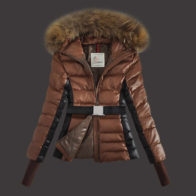 Cheap Moncler Down Coats Women Fur Hooded Brown MC1565 Sale