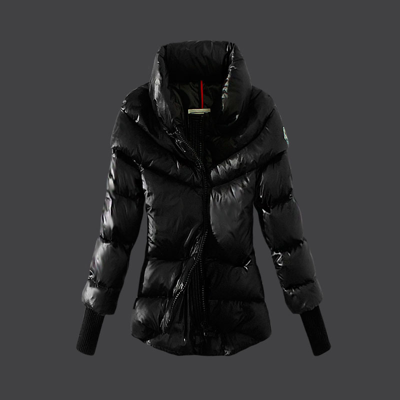 Cheap Moncler Down Coats Women High Colalr Black MC1525 Sale