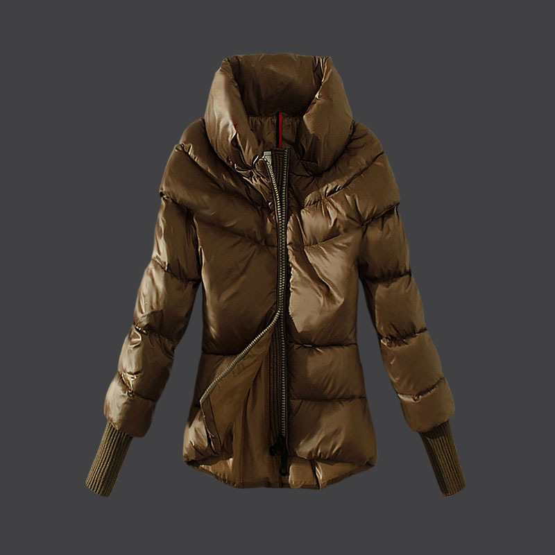 Cheap Moncler Down Coats Women High Colalr Coffee MC1523 Sale