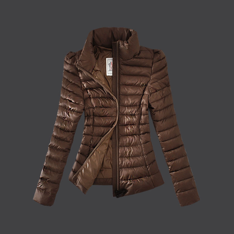 Cheap Moncler Down Coats Women High Collar Coffee MC1491 Sale
