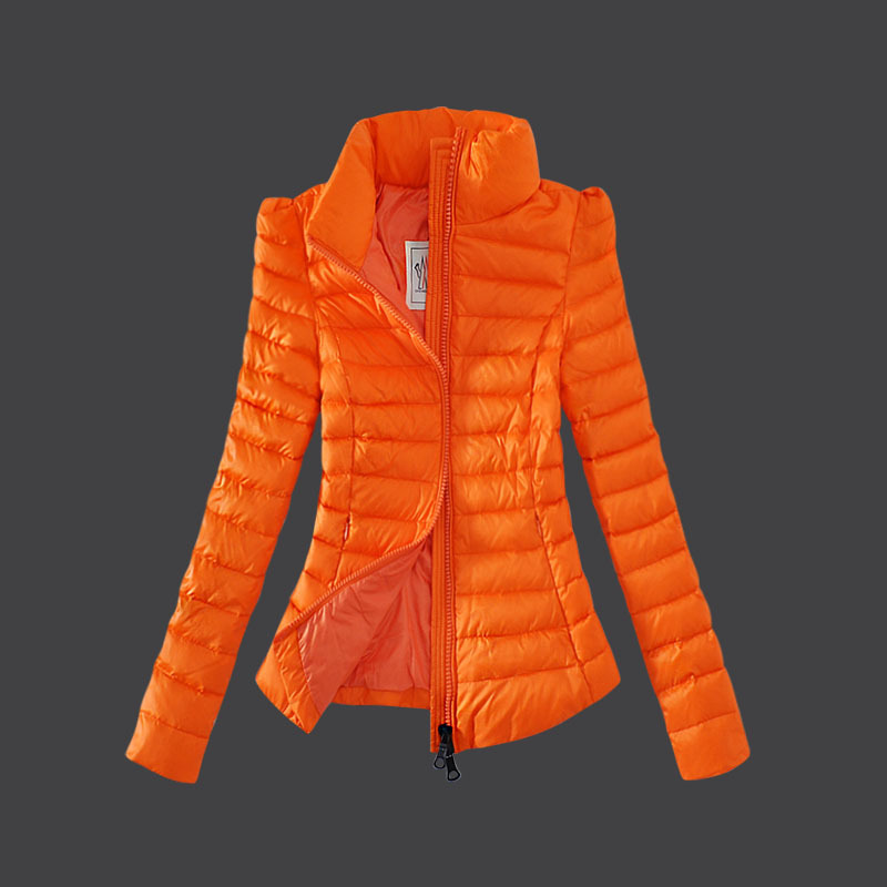 Cheap Moncler Down Coats Women High Collar Orange MC1492 Sale