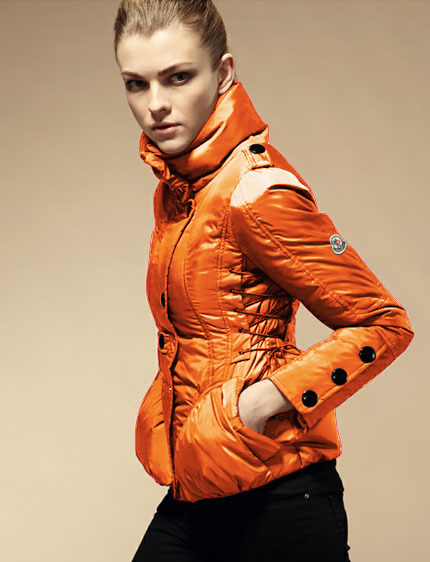 Cheap Moncler Down Coats Women High Collar Orange MC1513 Sale