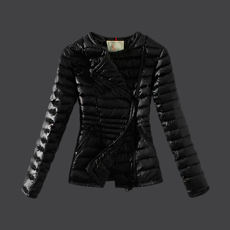 Cheap Moncler Down Coats Women Inclined Zipper Black MC1532 Sale