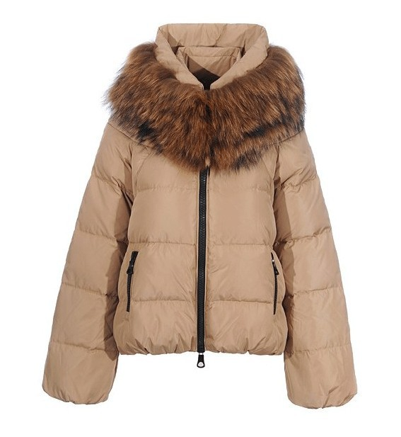 Cheap Moncler Down Coats Women Khaki With Fur Collar MC1386 Sale