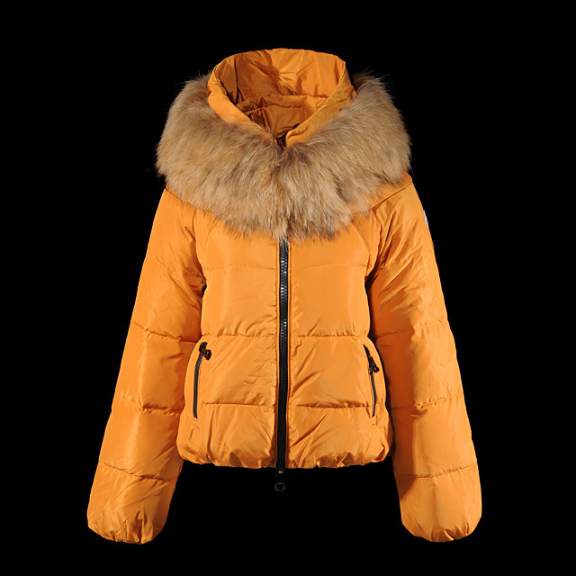 Cheap Moncler Down Coats Women Orange With Fur Collar MC1384 Sale