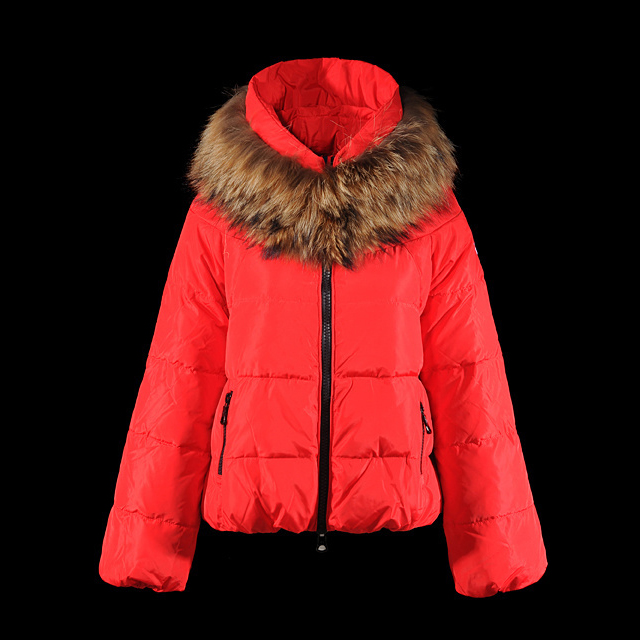 Cheap Moncler Down Coats Women With Fur Collar Red MC1383 Sale