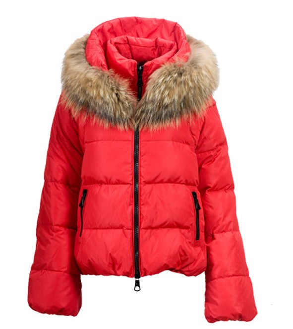 Cheap Moncler Down Coats Women With Fur Collar Watermelon Red MC1388 Sale