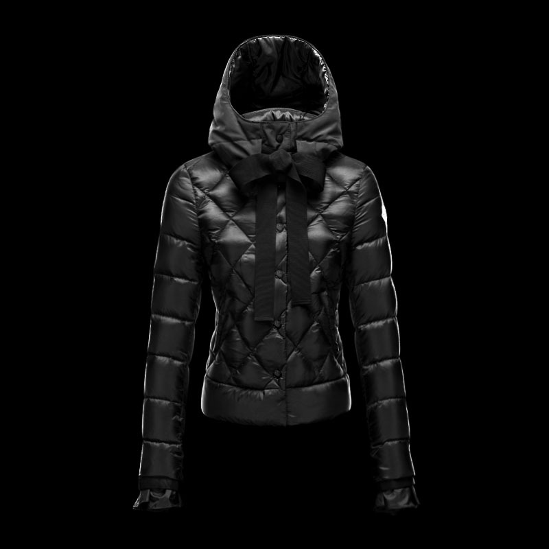 Cheap Moncler Down Coats Women Zipper Cuffs Black MC1514 Sale