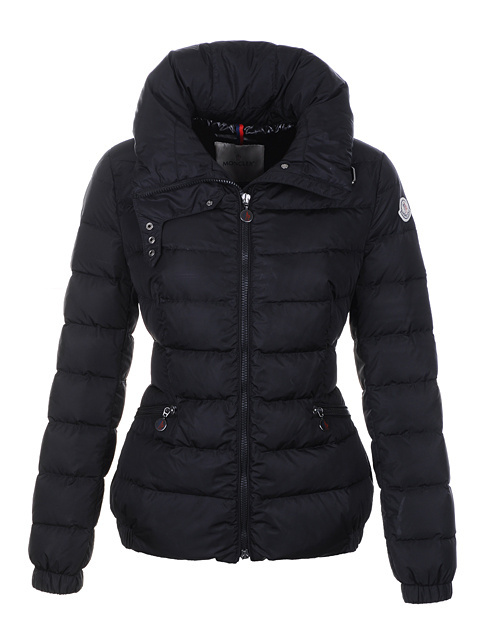 Cheap Moncler Down Jackets For Women Black With High Collar MC1395 Sale