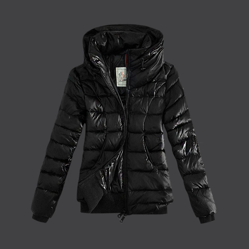 Cheap Moncler Down Jackets For Women Double Collars Black MC1480 Sale