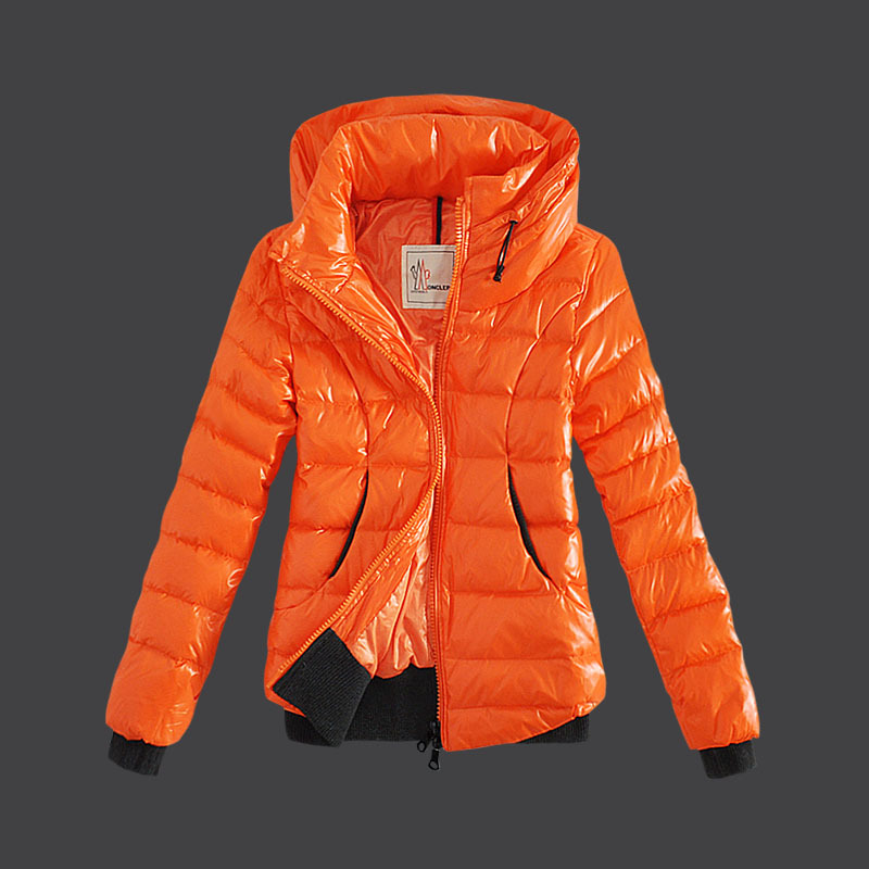 Cheap Moncler Down Jackets For Women Double Collars Orange MC1481 Sale