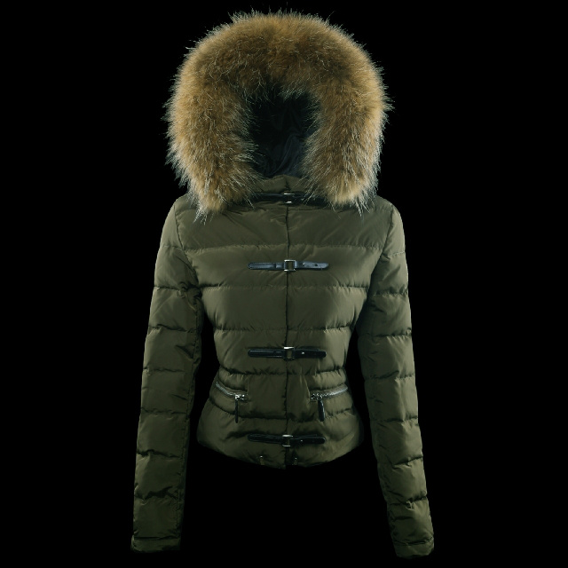 Cheap Moncler Down Jackets For Women Green With Fur Cap MC1369 Sale