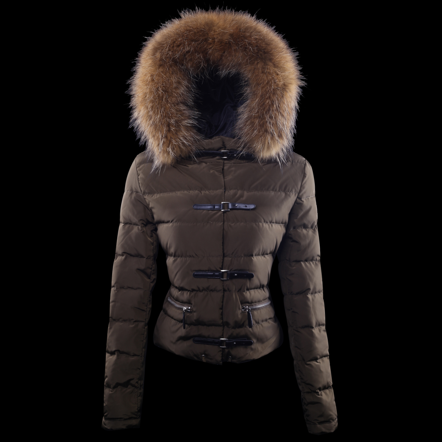 Cheap Moncler Down Jackets For Women With Fur Cap Brown MC1367 Sale