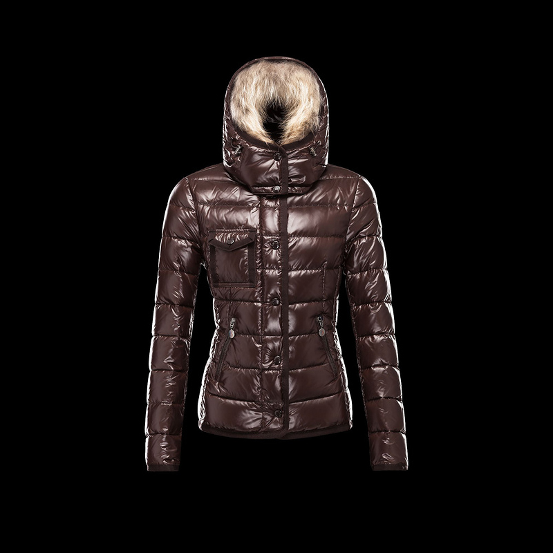 Cheap Moncler Down Jackets For Women With Fur Cap Claret MC1363 Sale