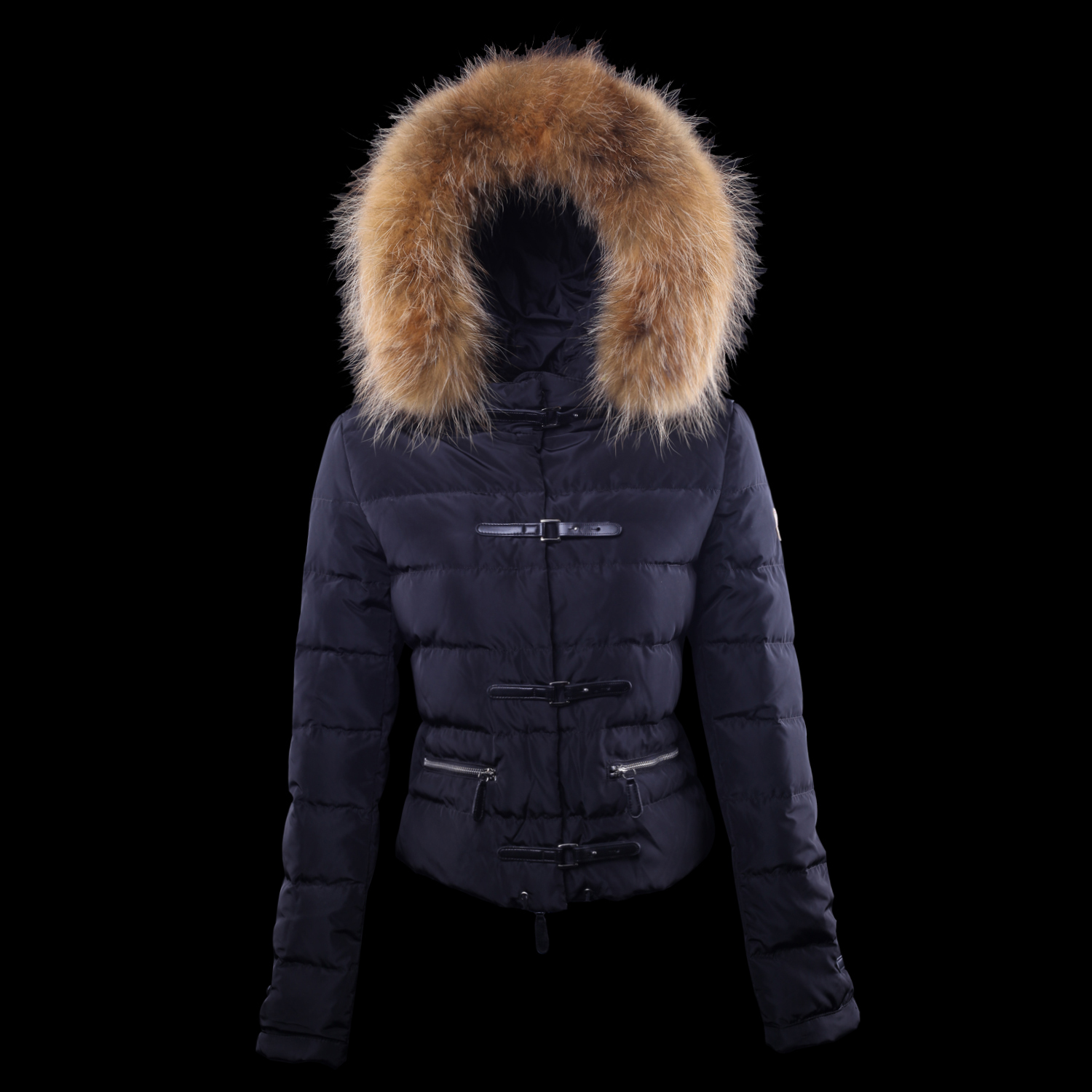 Cheap Moncler Down Jackets For Women With Fur Cap Claret MC1364 Sale