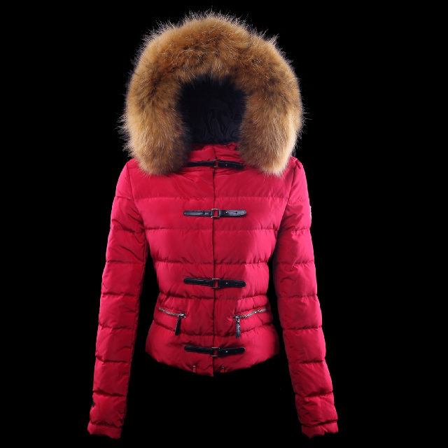 Cheap Moncler Down Jackets For Women With Fur Cap Red MC1366 Sale