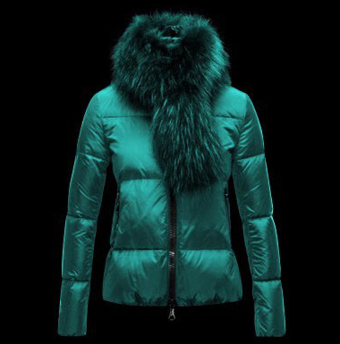 Cheap Moncler Down Jackets For Women With Fur Collar Green MC1329 Sale