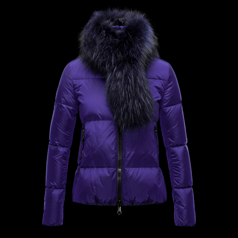 Cheap Moncler Down Jackets For Women With Fur Collar Purple MC1327 Sale