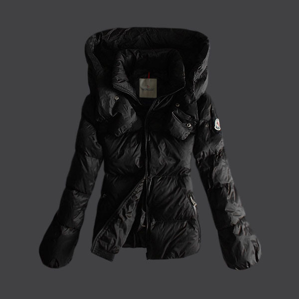 Cheap Moncler Down Jackets For Women With High Collar Black MC1348 Sale
