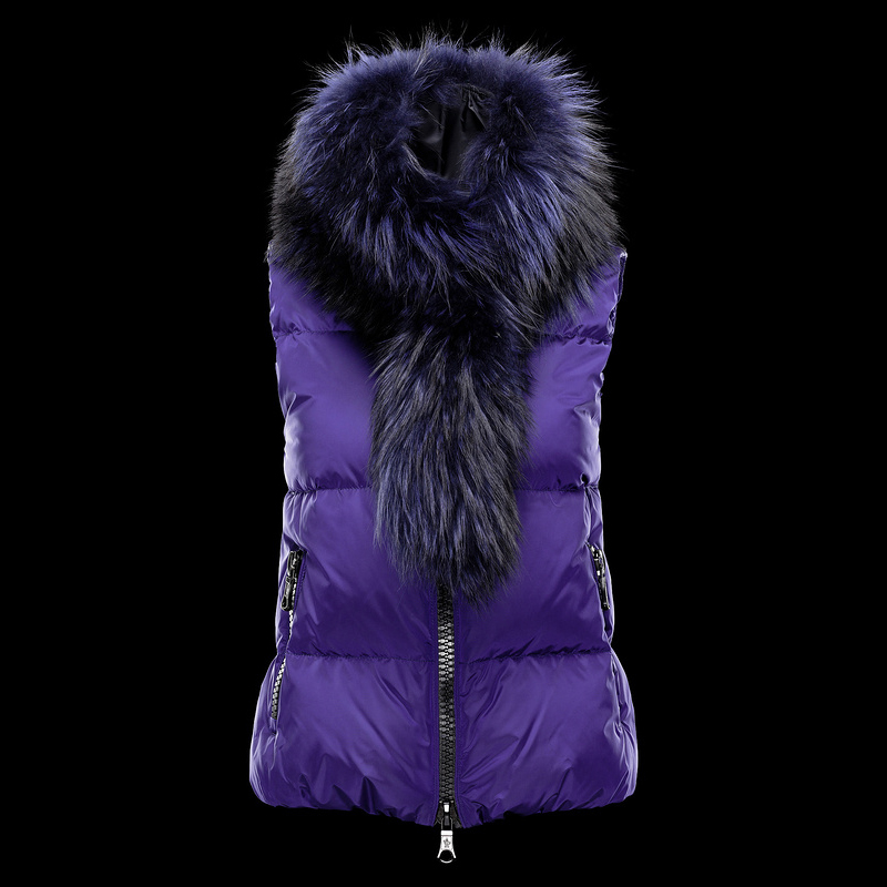 Cheap Moncler Down Vest Women With Fur Collar Purple MC1359 Sale