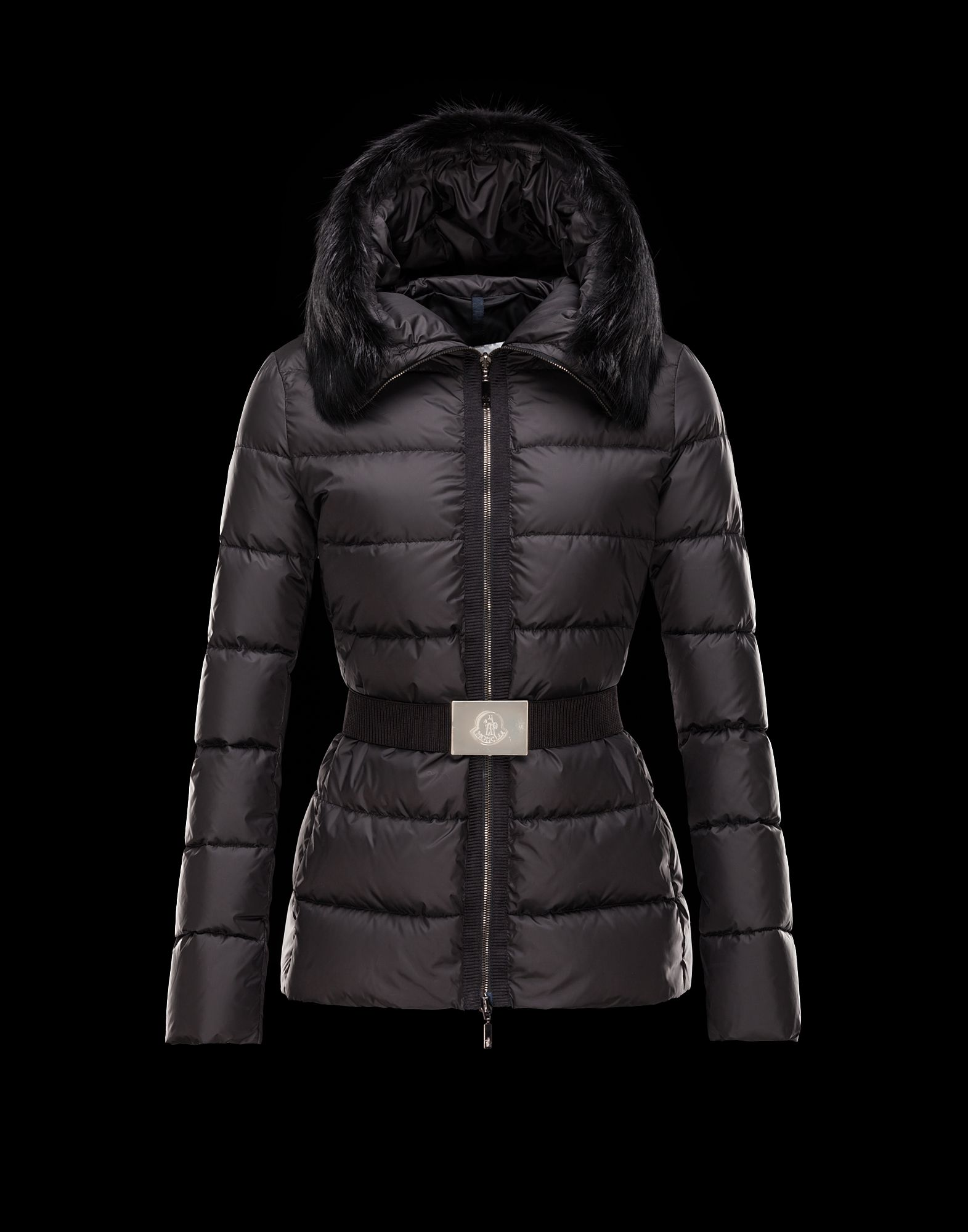 Cheap Moncler FABREGES Women Coats Short Black With Fur Collar And Waistband Sale NA1106