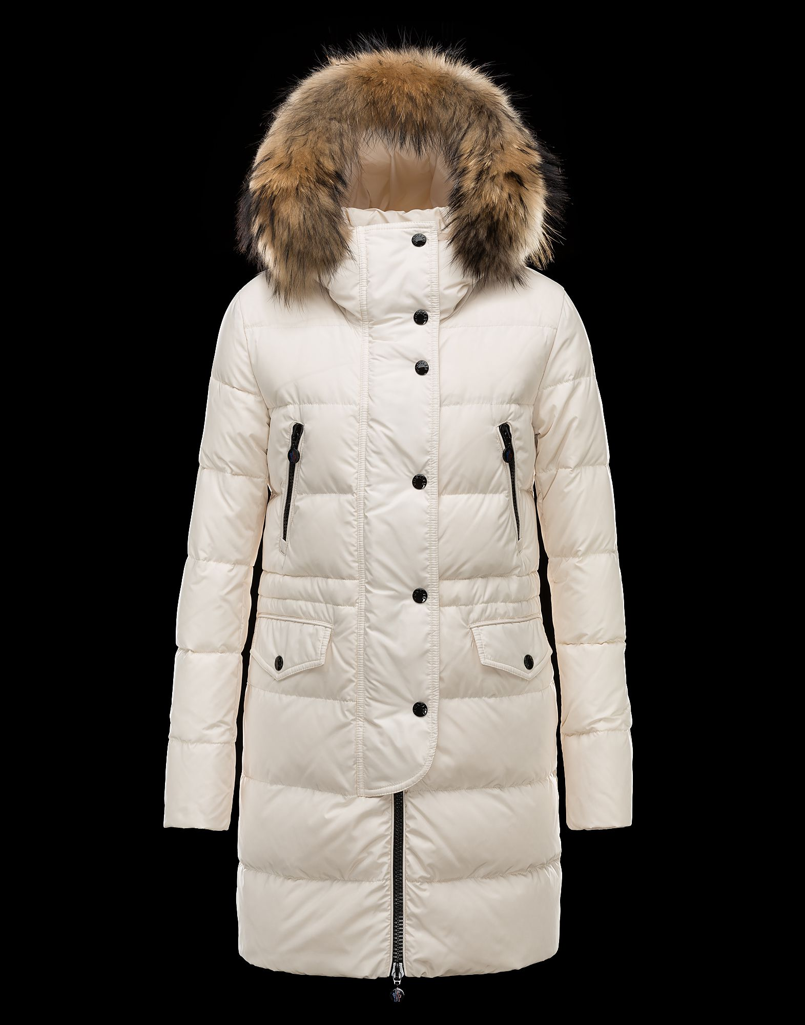 Cheap Moncler FRAGON Women Coats Long Ivory With Fur Collar Sale NA1111