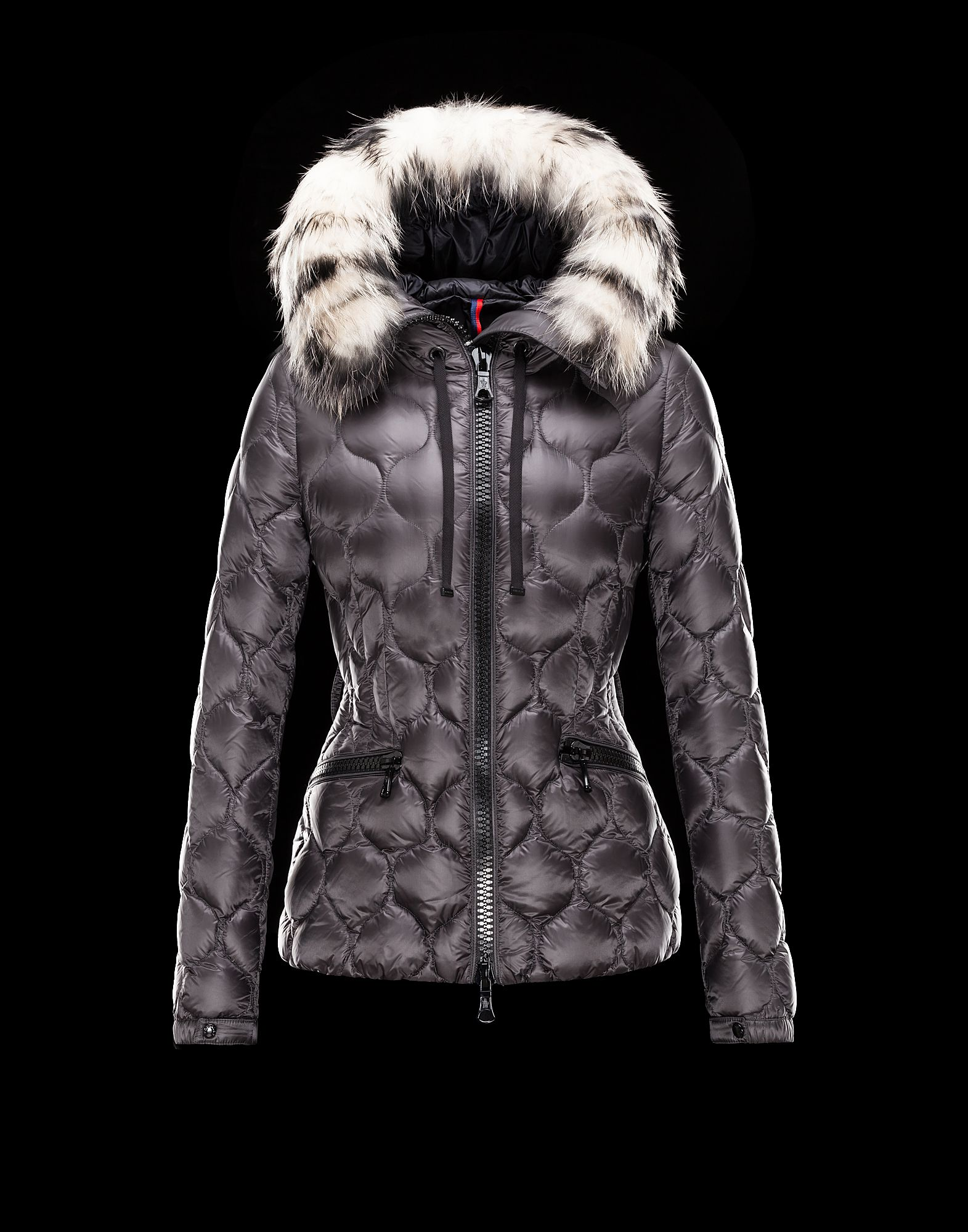 Cheap Moncler GRESFUR Women Coats Short Dove Grey With Fur Collar Sale NA1108