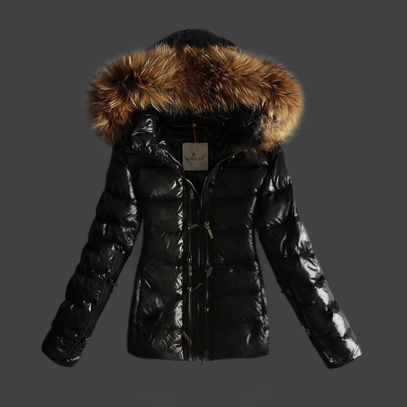 Cheap Moncler Jackets For Women Black With Fur Cap And Waistband MC1144 Sale