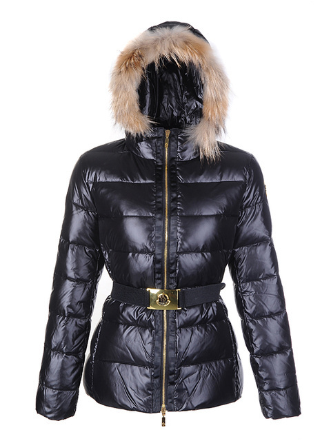 Cheap Moncler Jackets For Women Black With Fur Cap And Waistband MC1187 Sale