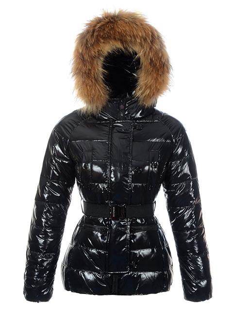 Cheap Moncler Jackets For Women Black With Fur Cap And Waistband MC1287 Sale