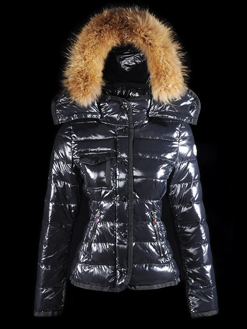 Cheap Moncler Jackets For Women Black With Fur Cap MC1169 Sale